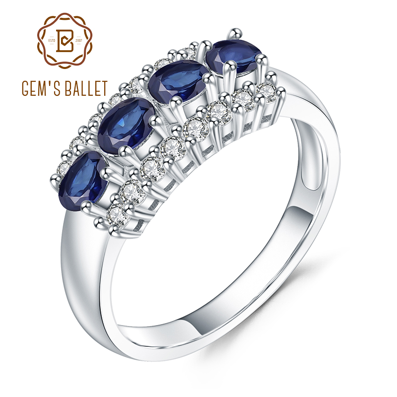 GEM'S BALLET 0.92Ct Natural Blue Sapphire Gemstone Ring 925 Sterling Silver Wedding Band Rings For Women Valentine's Day Jewelry