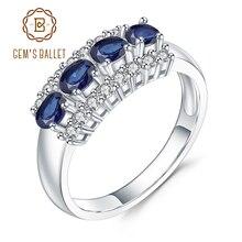 Gems BALLET 0.92Ct 천연 블루 사파이어 보석 반지 925 스털링 실버 웨딩 밴드 반지 발렌타인 데이 쥬얼리