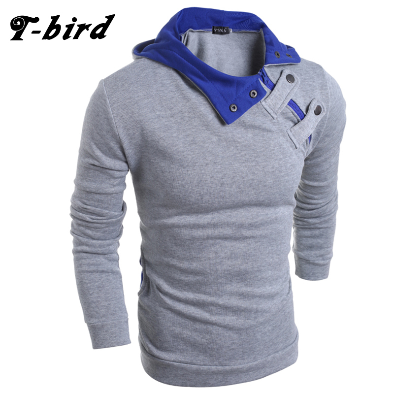T-Bird 2018 New Fashion Hoodies Brand Men Solid Button Sweatshirt Male Hoody Hip Hop Autumn Winter Hooded Hoodie Mens Pullover