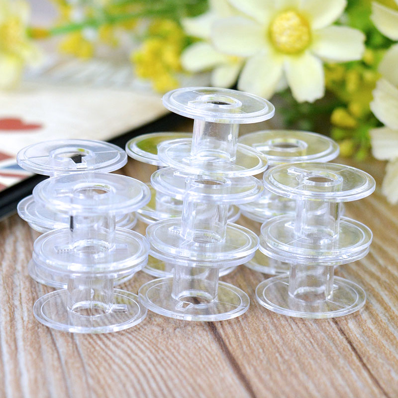 2016 Hot 10pcs Clear Bobbins Sewing Machine Plastic Spool Brother Janome Singer Best Quality