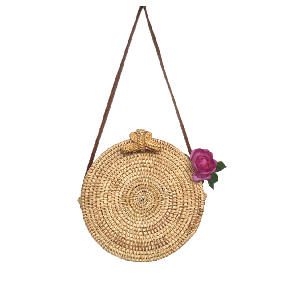 The Rattan Bag Plain Crossbody Beach Bag Butterfly Knot Garden Style Beacbag Round Straw Bag Special promotion