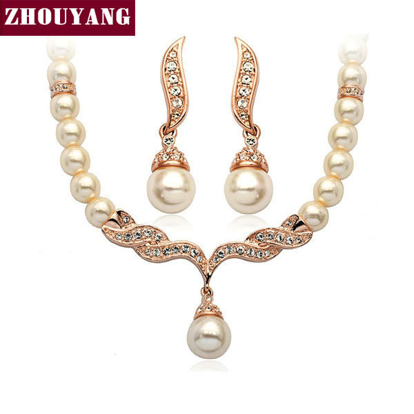 Top Quality ZYS002 Imitation Pearl Rose Gold Color Elegant Wedding Jewelry Necklace Earrings Set Made with Austrian Crystals