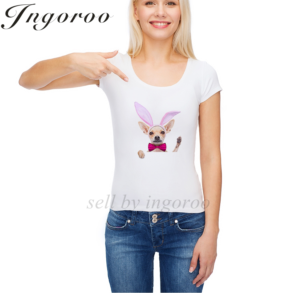 Ingoroo моды заячьи ушки с принтом собаки Band Tee панк кактус женские футболки русалка Harajuku футболка женская tumblr панк сексуальные топы