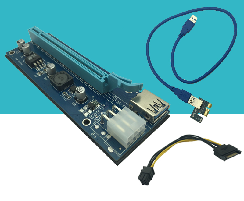 USB 3.0 PCI-E Extender Riser Card PCI Express 16X Adapter 60cm SATA 15Pin to 6Pin Power Cable Cord for Bitcoin BTC Mining Tool usb 3 0 pci e express 1x to 16x extender riser card adapter with 15pin to 4pin power sata cable for btc bitcoin mining device