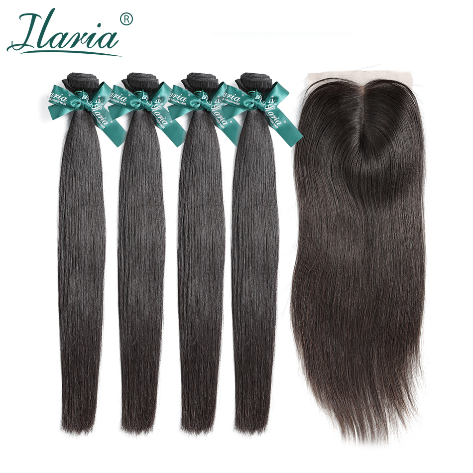 ILARIA HAIR Brazilian Hair 4 Bundles With Closure Straight 100 Human Hair Weave Bundles With Lace