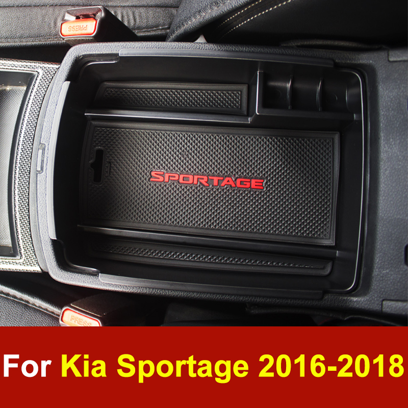 Car Central Console Armrest Box Storage Container Organizer Holder Case Tray For Kia Sportage 4 QL 2016 2017 2018 AT Accessories jeazea new car styling central armrest storage box tray storage holder for honda for civic 10th 2016 2017 2018
