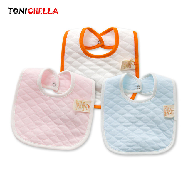 Newborn Bibs Cotton Double Layer Thicken Infant Saliva Towels Baby Boys Girls Solid Color Toddler Cute Style Burp Clothes CL5224