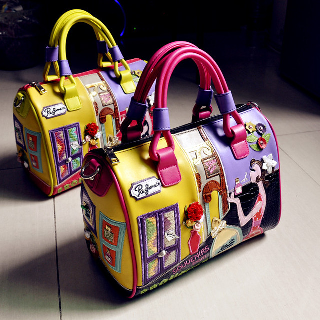European and American fashion handmade embroidery stitching color three-dimensional decorative large Boston Bag