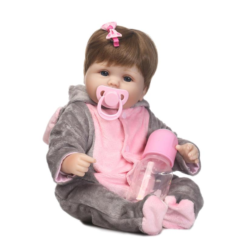 Pursue 16/40 cm Elephant Clothes Cute Girl Reborn Baby dolls Open Eyes Brown Hair Soft Body Silicone Limbs Gift For Children