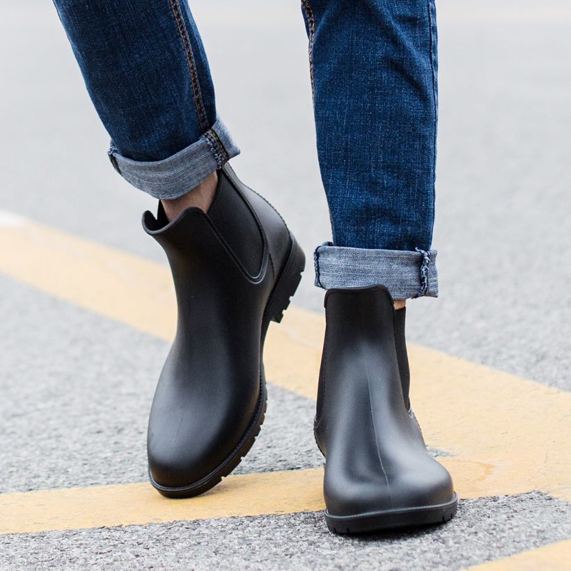 Hellozebra chelsea boots Men & Boy Rain boots For Rainning days Comfortable Light Round Toe Waterproof Garden Shoes army boots