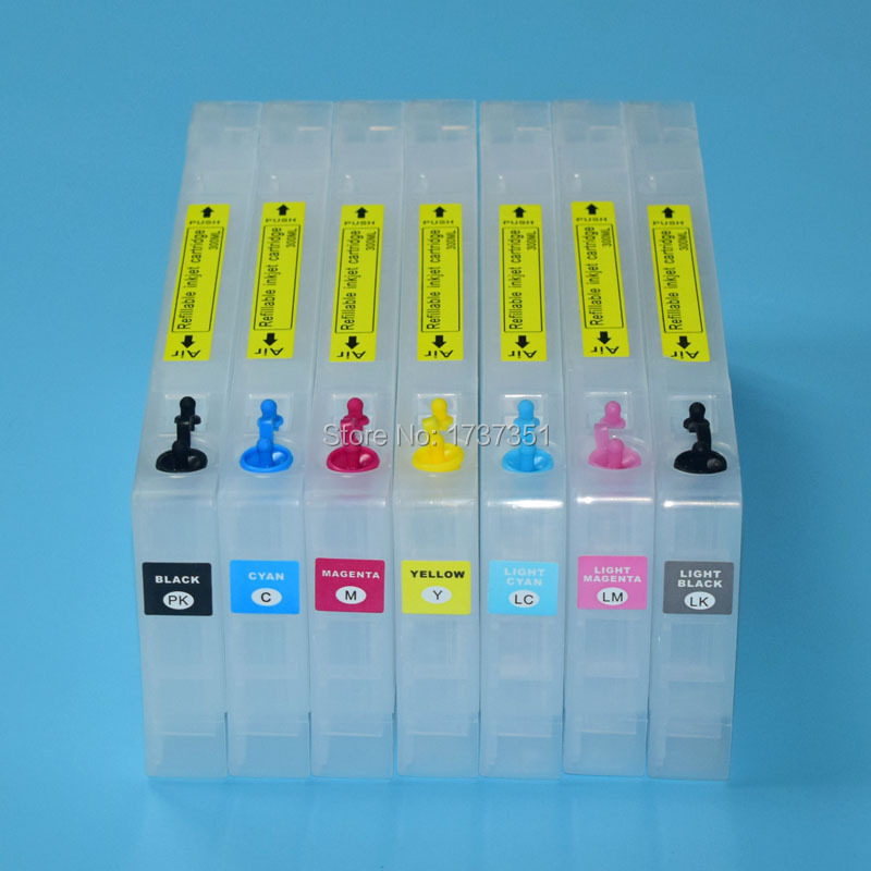 t5441 T5441-T5447 For Epson Stylus Pro 7600 refill ink cartridge with resettable chip and chip resetter 7 color 300ml