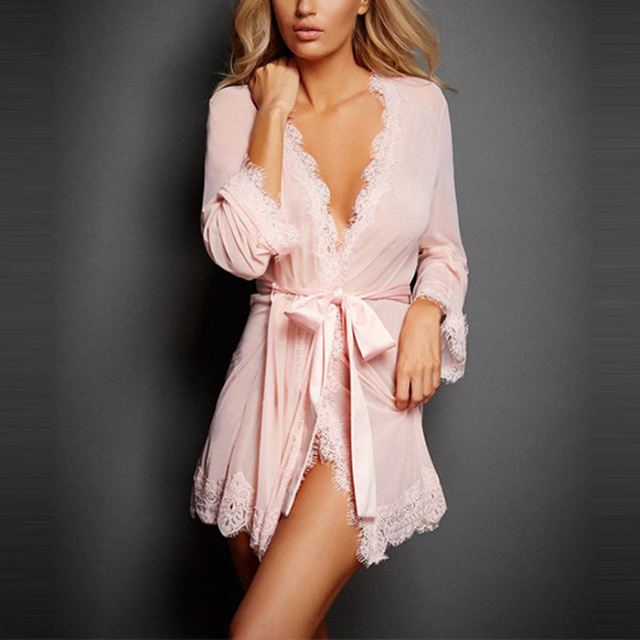 2018 Sexy Lingerie Women Dress Underwear female Lace Coat Costume Set Erotic Uniform Lenceria Sexy Nuisette Babydoll