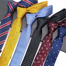 hot deal buy 15 pattern 5cm silk men's skinny ties stripes dots paisley floral jacquard narrow necktie groon wedding business party gravata