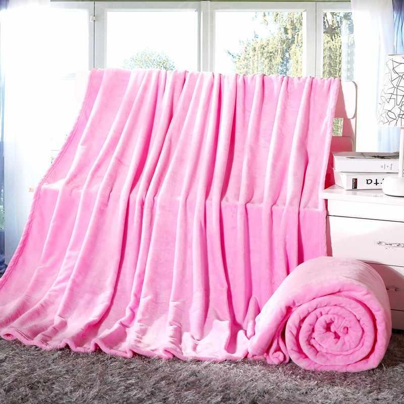 Cobertor de Flanela Cor sólida Ar/Sofá/Cama Joga Sofá Viagem Cobertores de Lã Colcha Lençol Inverno Cobertor Quente 4 tamanho