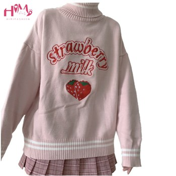 Winter Japanese Women Vintage Cashmere Sweater High Collar Cute Strawberry Knitted Pullovers Female Pink Kawaii Jumper Clothing オフショル 水着 花 柄