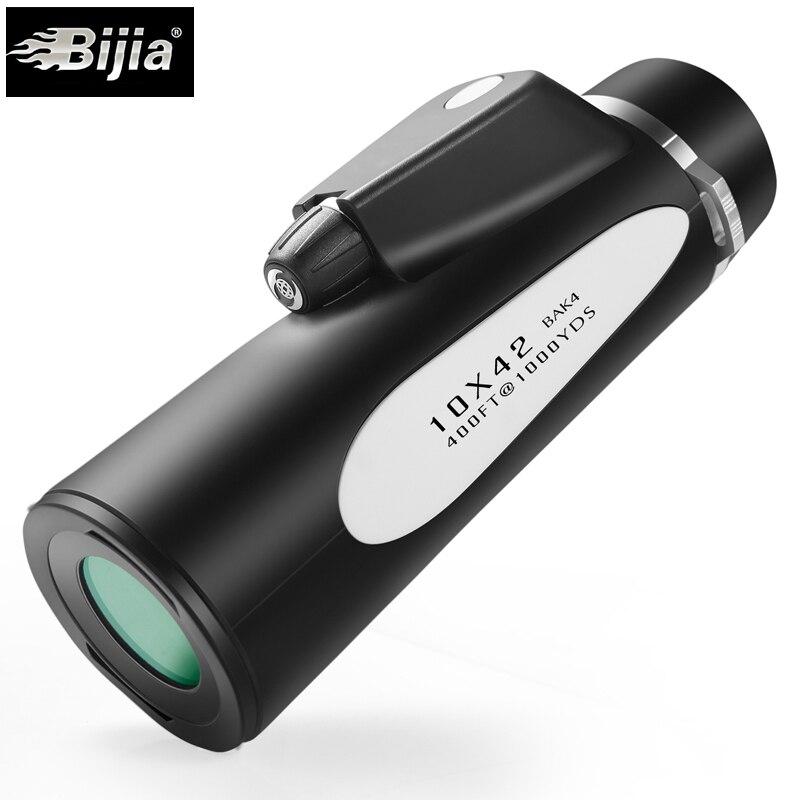 10X HD télémètre télescope BIJIA 10x42 azote étanche FMC optique monoculaire BAK4 intégré boussole télescopes militaires