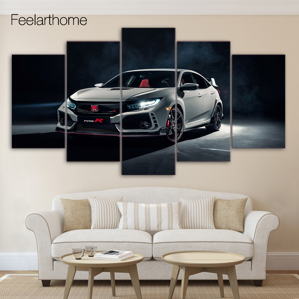 5 Piece Canvas Painting White Car Dispay Auto Show HD Posters And Prints  Canvas Painting For