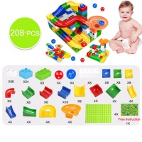 104-208PCS Marble Race Run Maze Ball Track Building Blocks Plastic Funnel Slide Big Size Bricks Compatible Legoingly Duplo Block 5