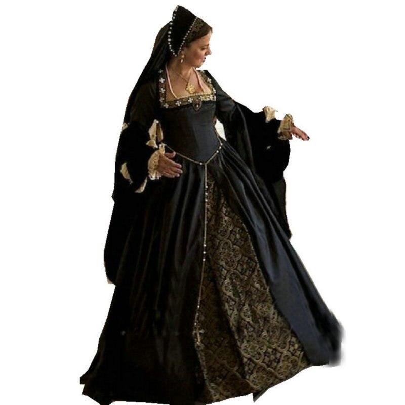 Винтажный костюм роскошного черного цвета, платья в стиле ренессанс, платье в стиле стимпанк, готическое платье для костюмированной вечери