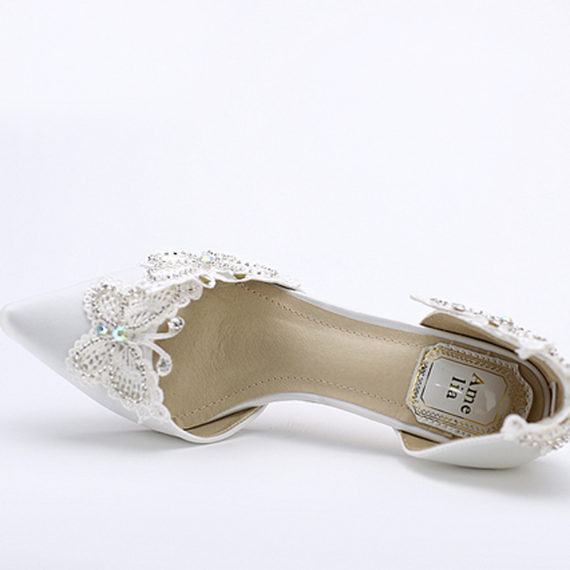 Aliexpress.com : Buy Kitten Heel Pointed Toe Bridal Shoes Women ...