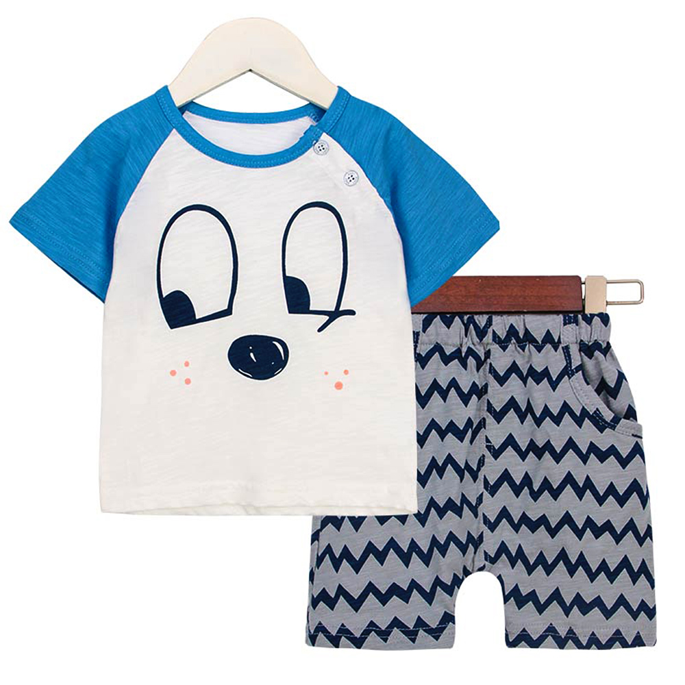 2pcs baby clothes sets summer short sleeve cotton cartoon t-shirt +pants unisex baby boys girls clothing cheap sale price