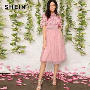 Image 2 - SHEIN élégant rose Guipure dentelle superposition maille ourlet Midi fête robe dété femmes 2019 ajustement et Flare une ligne solide robes douces