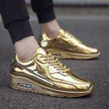 2018 Men Shoes Sneakers Gold Sliver Breathable Man Casual Shoes Zapatillas  Hombre Comfortable Bright Flat Shoe 89236e081107