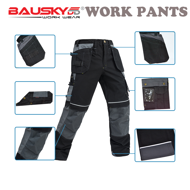 BAUSKYDD MENS MULTI POCKET REFLECTIVE STRIP WORK PANTS TROUSERS FOR WORKING WITH SOFT KNEE PADS MALE PANTS FREE SHIPPING bauskydd ce eva knee pads for work kneelet for work pants genouillere knee protection detachable removable knee pads kneepads