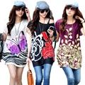 Nuevo 2015 verano mujeres de la camiseta tops de manga corta t-shirt camiseta de impresión más tamaño túnica larga floja tees camisetas mujer vestidos
