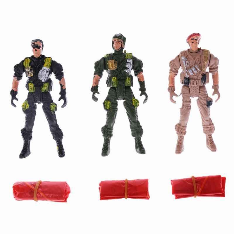 3 個 9 センチメートル空挺部隊パラシュート兵士子供屋外スポーツ手外出するや旅行スローおもちゃ