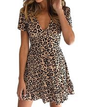 2019 New Women Mini Short Sleeve Leopard Dress Deep V Neck Flounce Trim Plus Size Animal Print Vintage A Line Dress Vestido недорого