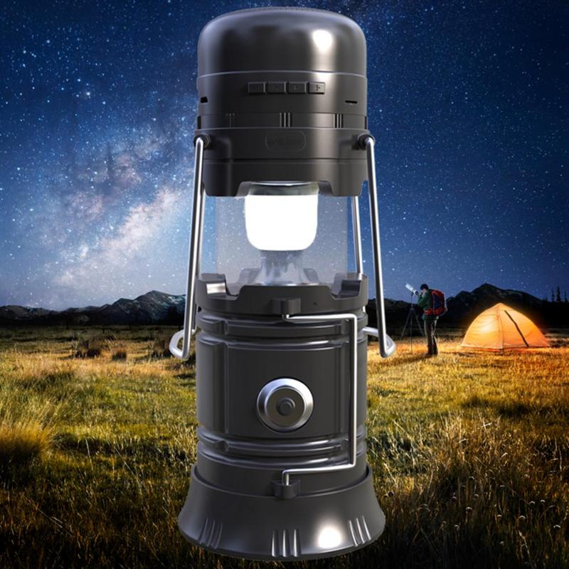DC 5V 5W Outdoor Wireless Bluetooth Speaker Solar Power Portable Lamp USB Rechargeable Hand Lamp Camping Lantern Light