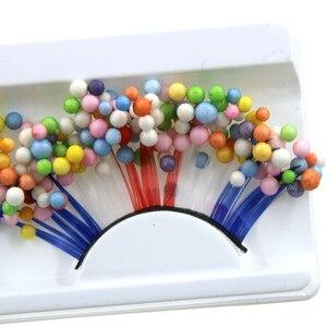 Image 2 - YOKPN faux cils en boule de couleur exagéré, bleu, rouge blanc, croisés, épais, pour Studio, maquillage, Art