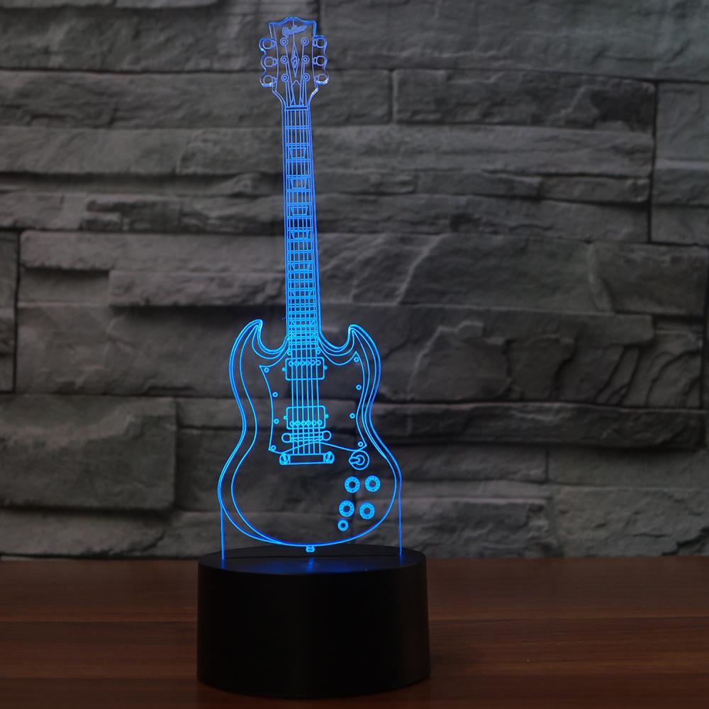 Novelty Guitar 3D NightLight 7 Colors Changing Table Lamp USB Bedroom Bedside Decor Gift Sleep Musical Instruments Light Fixture