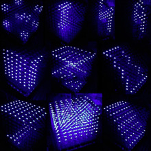 3D Cuadrado Kit DIY 8x8x8 3mm Cubo LED Blanco LED Azul/Rojo Luz PCB placa Al Por Mayor