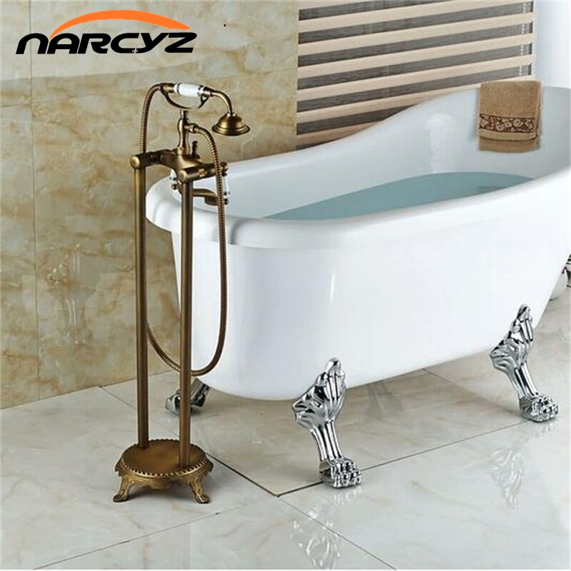 Bathroom Antique Floor Stand Faucet Telephone Type Bath And Shower Mixer Brass Shower Set Luxury Bathtub Tap Free Shipping XR703