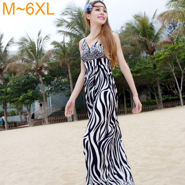 cc0614f9d5 Women s Summer Full Length Dress Zebra Print Sexy Deep V-neck Maxi Dress  Womens Plus Size Beach Striped Dress