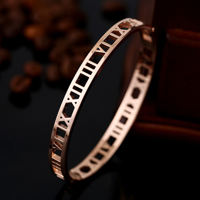 Roman Number Bangle Cuff Bracelets For Women Rose Gold Bangle Stainless Steel Bracelets Bangles Fine Jewelry BC-0102