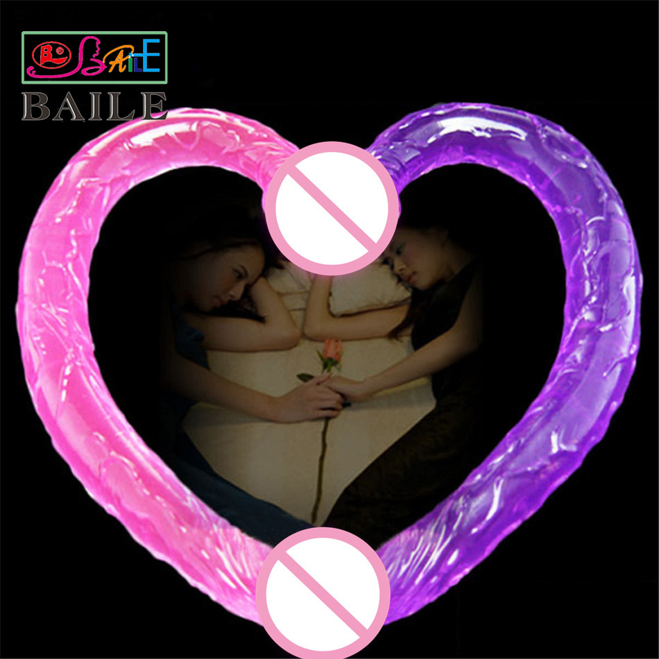 Baile Sex Products 44cm Flexible Double Dildo,Long Double Dildo Dong & Penis, Lesbian Dual Penis,Double Penetration Dildos ST469 lesbian woman double ended dildo realistic penis big dick anal and vagina double dong penetration long dildos for women sex toys