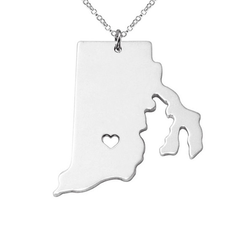 12pcs Silver/Gold Color State Of Rhode Island Map Necklace Top Best Quality Hollow Necklaces Wholesale