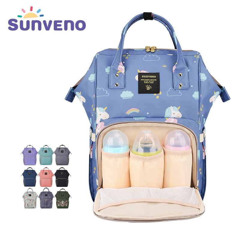 SUNVENO мама пеленки мешок большой Ёмкость детские пеленки мешок дизайнер кормящих сумка мода путешествия рюкзак уход за ребенком сумка для ма...