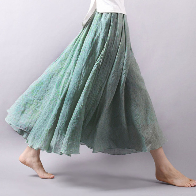 Fashion Casual Women Cotton Linen Summer Skirts Elastic Waist Green Female Maxi Long Skirts Boho A-line Pleated Beach Skirt