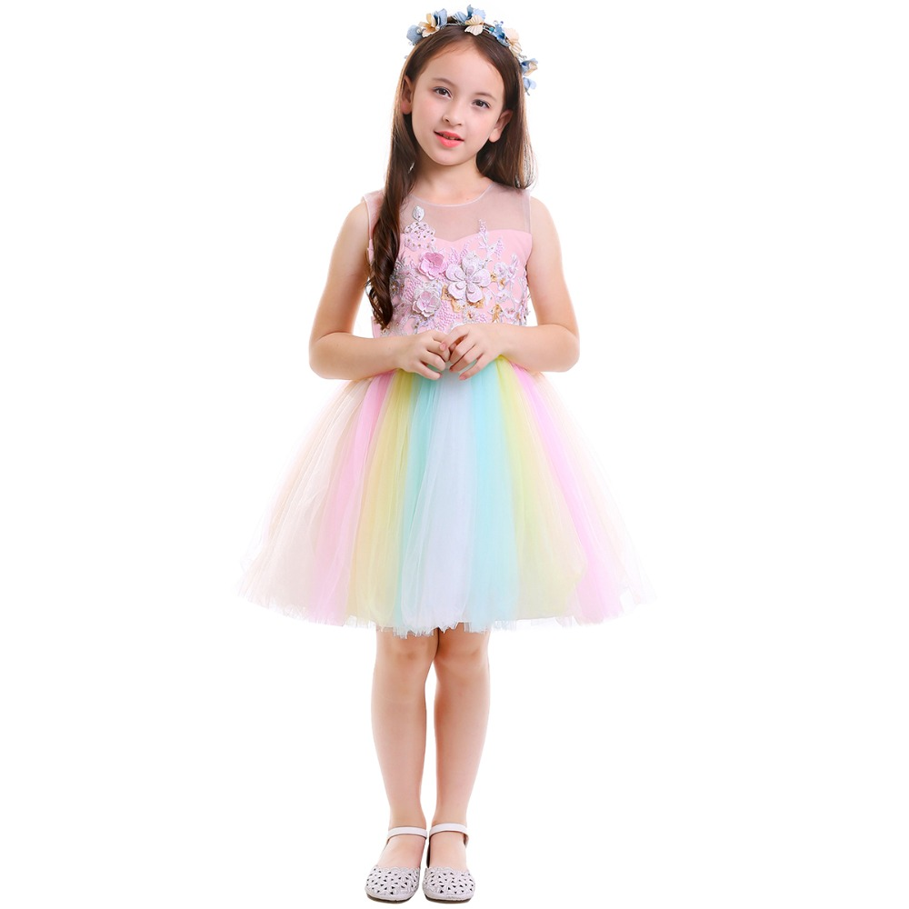d4d887a6b4c64 Unicorn Flower Girls Dress Kid Children Birthday Party Tutu Rainbow Tulle  Princess Dress Wedding Gown Kids Dresses for Girls