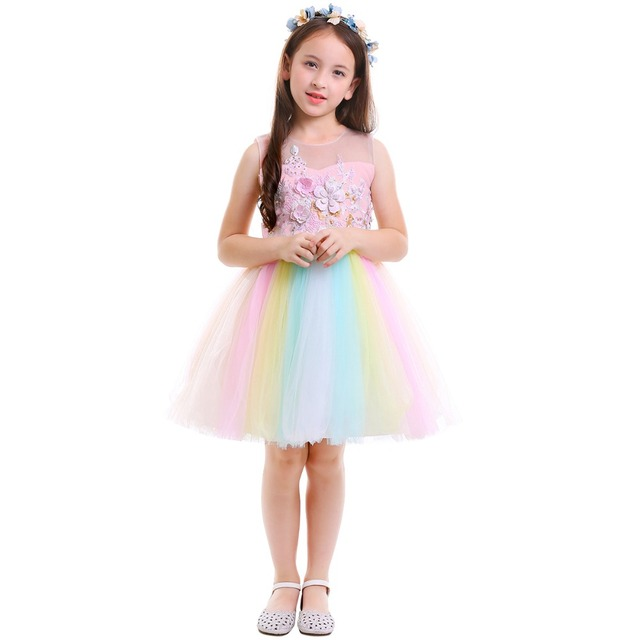 9d4a4a3717b Unicorn Flower Girls Dress Kid Children Birthday Party Tutu Rainbow Tulle  Princess Dress Wedding Gown Kids Dresses for Girls