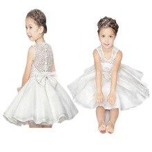 Niños Vestido De Princesa Para 3-8Years Girls Tutú Capas Vestidos de Fiesta de La Boda Traje de la Etapa Blanco 5 Colores Los Niños Ropa de Verano