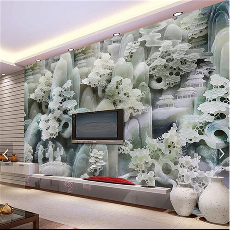 Wallpapers Home Improvement Independent 3d Wallpaper Photo Wallpaper Custom Living Room Mural Marble Jade Carvings Chinese Painting Sofa Tv Background Wallpaper Sticker