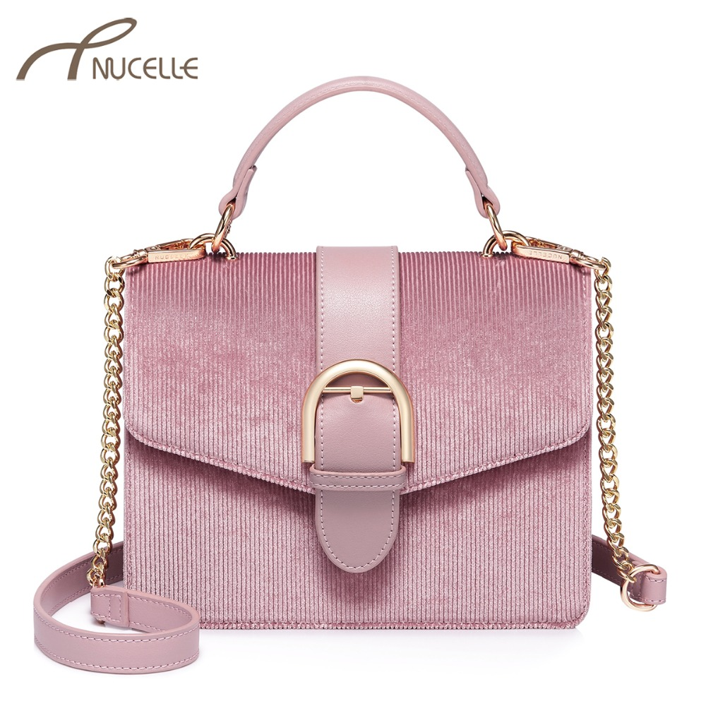 NUCELLE Women s Velour Handbags Ladies Fashion Leather Chains Tote Purse  Female Elegant All-match Pink bfacb2b99b1db