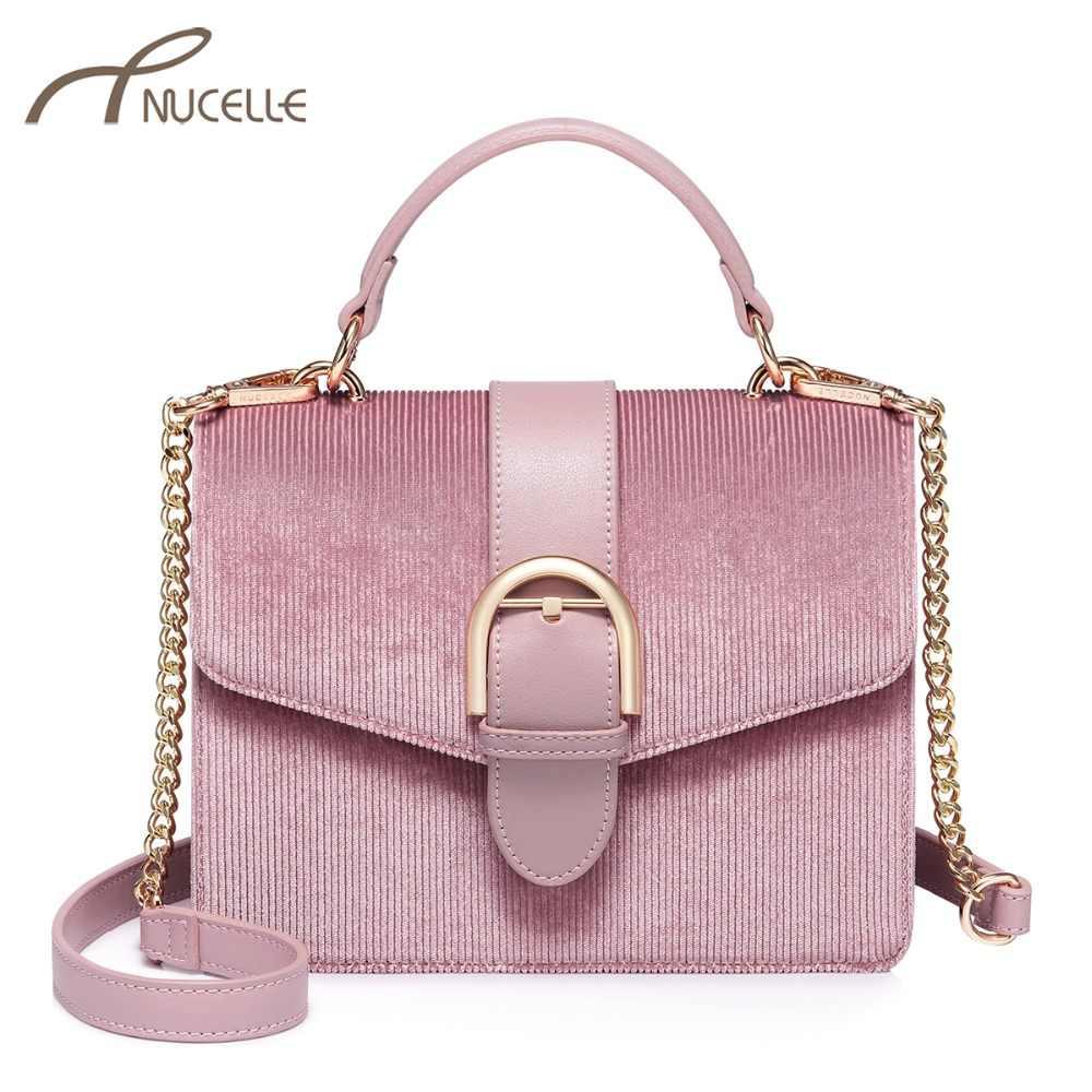 809599286ec NUCELLE Women's Velour Handbags Ladies Fashion Leather Chains Tote Purse  Female Elegant All-match Pink Color Flap Crossbody Bags