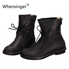 Whensingerผู้หญิงรองเท้าบู๊ทผู้หญิงที่ทำด้วยมือวินเทจของแท้หนังรองเท้ารองเท้าส้นเตี้ยSX15031503I