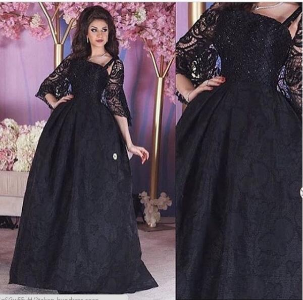 2017 Elegant Evening Dress Black Lace With Wrap Saudi Arabia Dubai